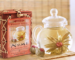 Hand-crafted premium white green and black teas are included in the Numi Flowering ... & Grateful Leaves Flowering Tea